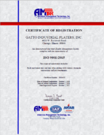 Gatto Industrial Platers ISO 9001: 2015 Quality Management System